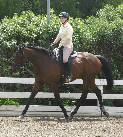 Chouette Player and mom Betsy practicing their dressage. - July 2005
