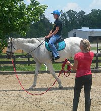 Off-track-Thoroughbred giving lesson to a new rider.
