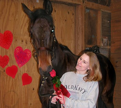 "Paula came to the farm to be a ""Friend of Bits & Bytes Farm"" and turned into a boarder when her husband surprised her with her favorite horse Joe Bear on Valentine's Day 2007."