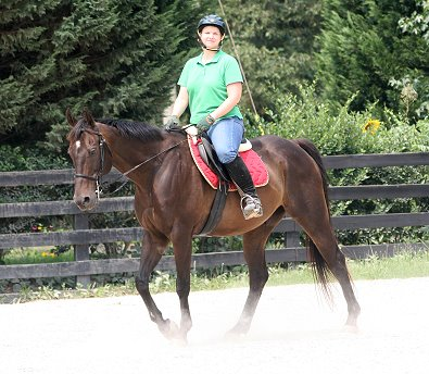 Queen's Rowdy Lad continues to put on weight and muscle with the exercise he is getting giving rides to his mom, Mamie Kerr.