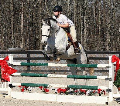 Got Um Smoke Um is an exrace horse who now loves to jump with his mom Amy.
