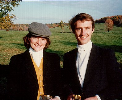 Bary and Elizabeth fox hunting in 1985 - the year they got married!