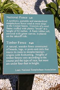 A sign describing a typical steeplechase fence.