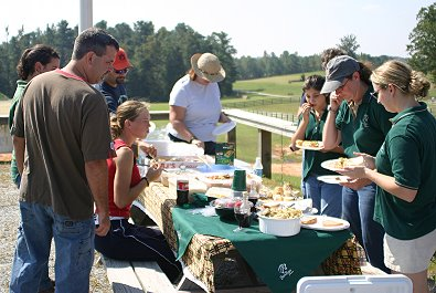 A typical picnic spread at a Bits & Bytes Farm event.