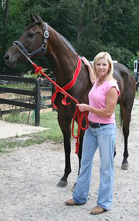 OTTB - K O River Crossing and his new mom Loui Padgett of Canton, GA. SOLD!