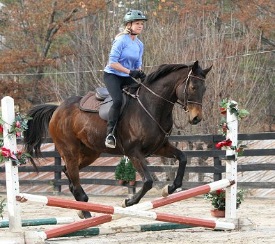 Ex-race horse - K O River Crossing is learning to jump - and so is his mom!