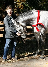"Former Prospect Horse For Sale - ""Blue"" and his new mom, Stephanie Bone recently visited Bits & Bytes Farm. November 3, 2007"