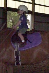 Three year old Josh rides an off-the-track Thoroughbred for the first time.
