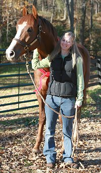 "Former Prospect Horse for Sale Fizzicus aka ""Fizzi"" meets his new mom Amanda Curtis. November 18, 2006"