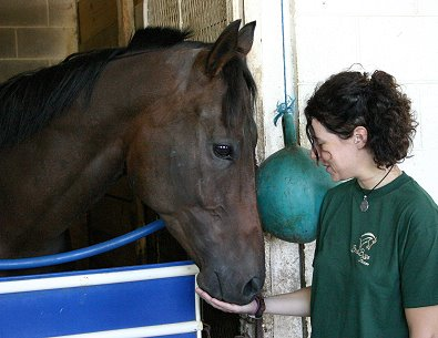 Jennifer meets Finder's Chance at Turfway Park in Kentucky.