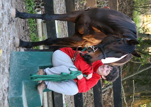 Artist Melanie Eberhardt and her horse Bubba.