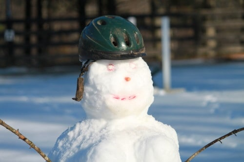 Even our snow woman wears a helmet for safety