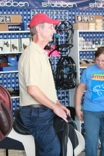 Barry tries on a new Stubben dressage saddle