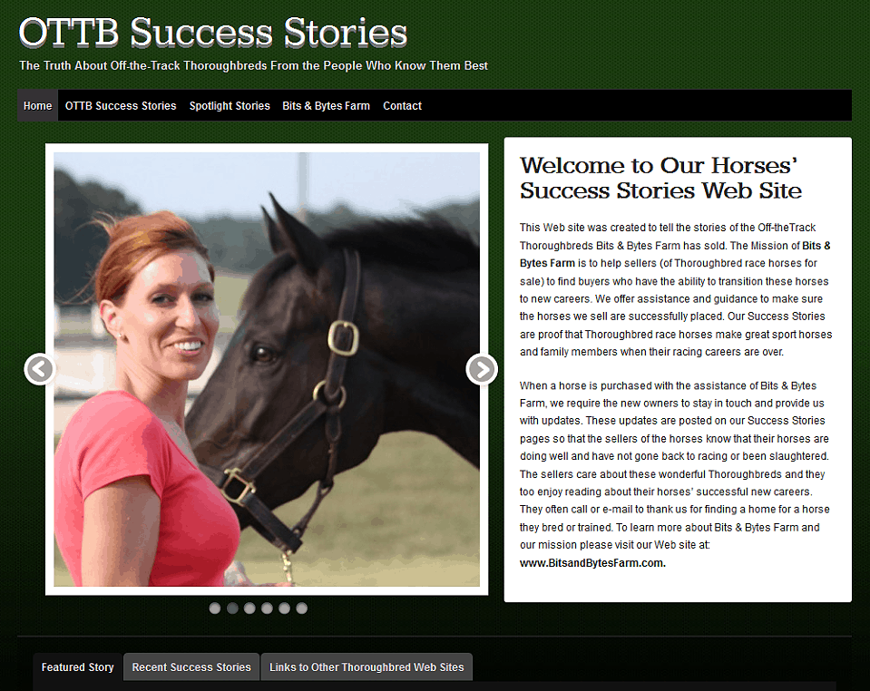 OTTB Success Stories site | Off-the-Track Thoroughbreds