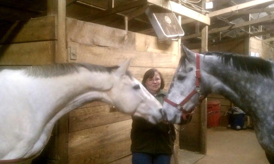 Detroit Iron (Andy) greets Young Joe at Bits & Bytes Farm