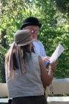 Bob Walker and his daughter Bernadette look over the entries at the Hard Away Whitworth hunter pace