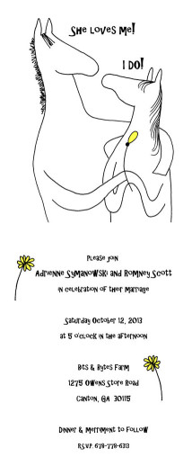 Melanie Eberhardt's artwork for the wedding invitation was used as the theme for the wedding.