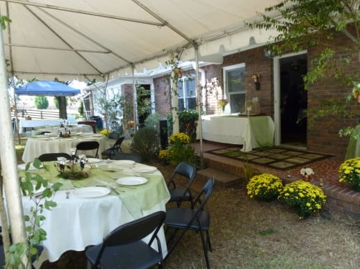 Beautiful Fall mums were provided by the Ladyslipper Rare Plant Nursery for wedding decor.