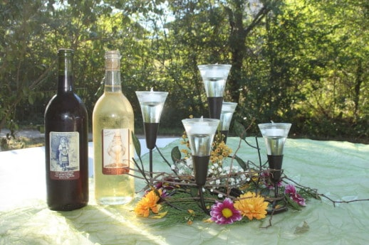 Wine and Centerpieces for the wedding
