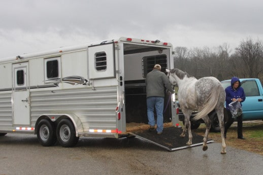 Loading Postal Pam in the trailer
