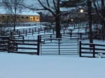 Nighttime settles over the farm as the snow lets us.